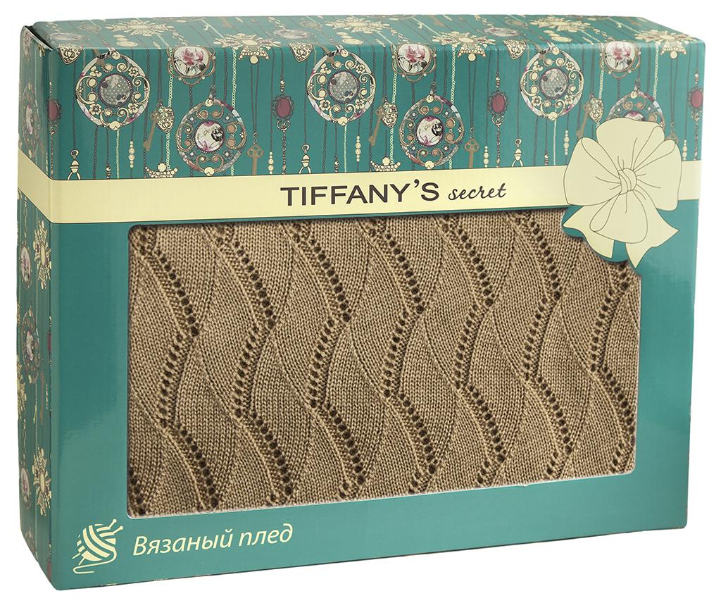 Плед 140*180 Tiffany's secret, трикотажной вязки, Ажур, Медовый Латте maigret s secret