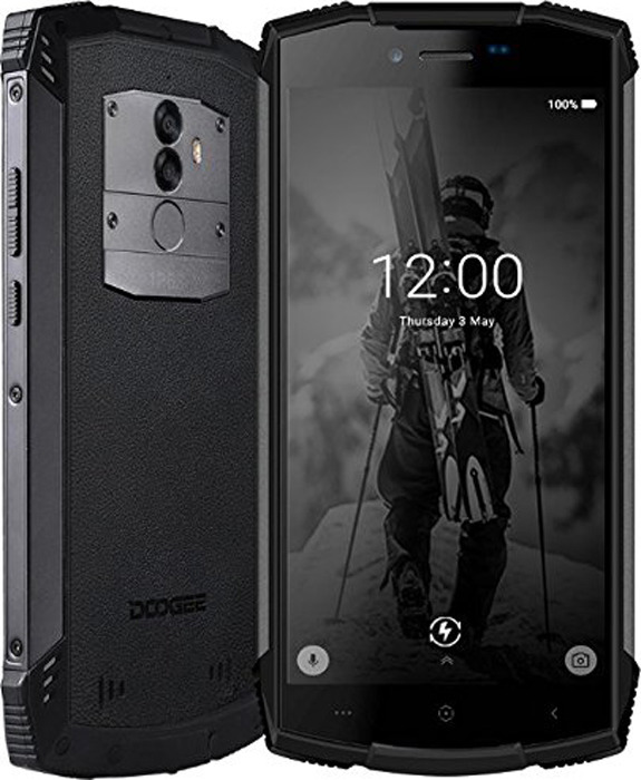 Смартфон Doogee S55, черный смартфон honor 10 128gb phantom green kirin 970 2 36ghz 4gb 128gb 5 84 2280x1080 2 sim 3g lte bt wi fi 16mp 24mp 24mp gps glonas android 8 1
