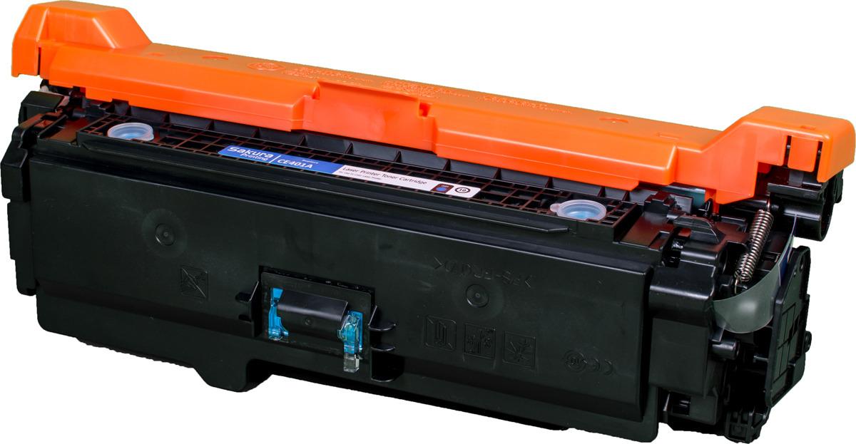 Картридж Sakura CE401A для HP Enterprise 500 Color M551n/525f/525dn/570/575f, синий