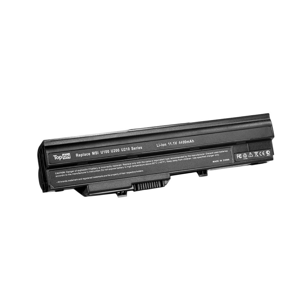 Аккумулятор для ноутбука TopON MSI Wind U90, U100, U120, U200, U230. 11.1V 4400mAh 49Wh. PN: BTY-S11, 3715A-MS6837D1., TOP-U100 pitatel bt 906b аккумулятор для ноутбуков msi wind u90 u100 u120 u210 lg x110