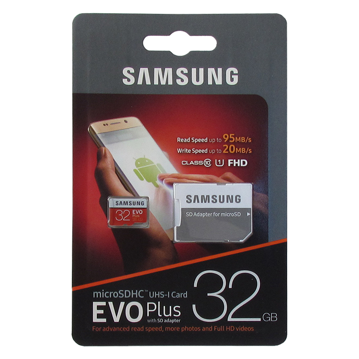 Карта памяти Samsung microSDXC Class 10 UHS-I U1 MB-MC32GA/RU 32GB , адаптер SD, цвет: бело-красный micro securedigital 64gb sdhc samsung pro endurance class10 uhs i u1 mb mj64ga ru адаптер sd