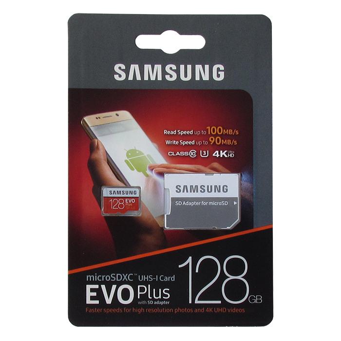 Карта памяти Samsung microSDXC Class 10 UHS-I U3 MB-MC128GA/RU 128GB , адаптер SD, цвет: бело-красный карта памяти micro sdxc 128gb class 10 samsung evo plus uhs i u3 чтение 100мб c запись 90мб с mb mc128ga ru sd adapter