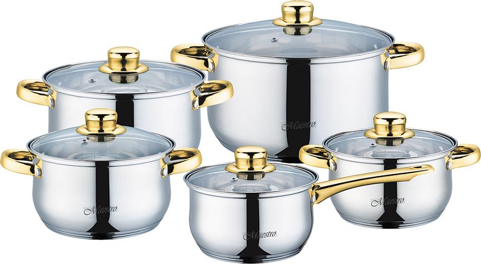 Набор посуды Maestro, MR-2006-10, серебристый, 10 предметов набор посуды maestro mr 2220 6l