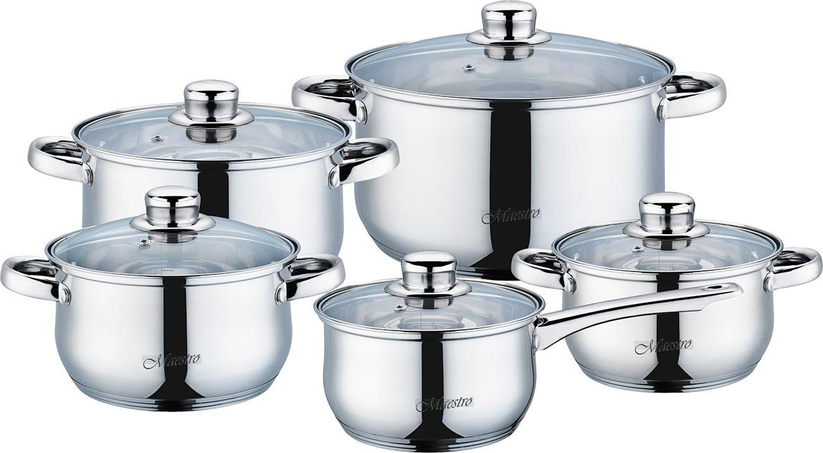 Набор посуды Maestro Jambo Gold, MR-2020-10, серебристый, 10 предметов набор посуды maestro mr 2220 6l