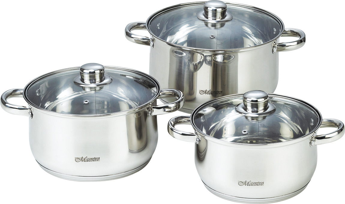 Набор посуды Maestro, MR-2020-6M, серебристый, 6 предметов набор посуды maestro mr 2220 6l