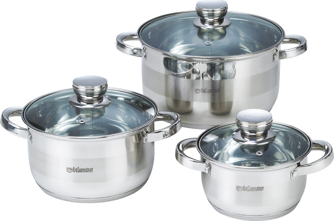 Набор посуды Maestro, MR-2220-6L, серебристый, 6 предметов набор посуды maestro mr 2220 6l