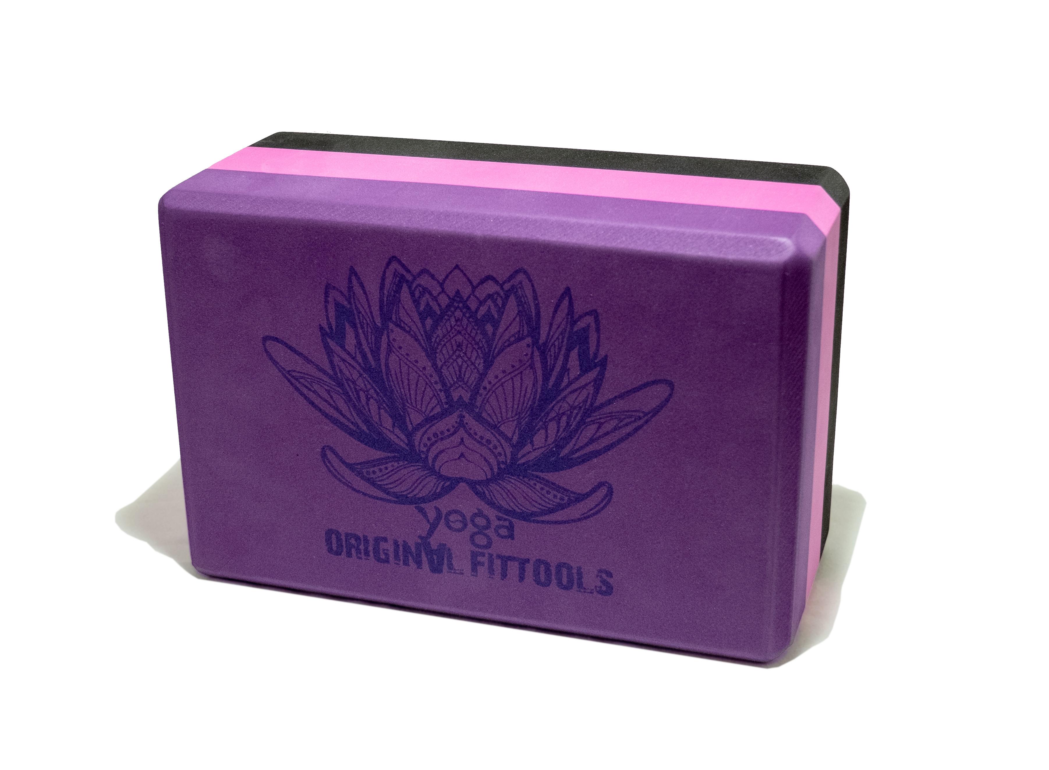 Блок для йоги трехцветный премиум в коробке недорго, оригинальная цена