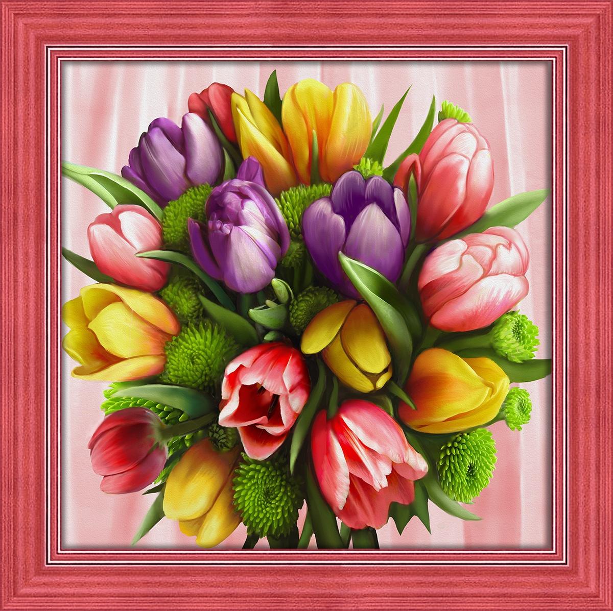 Алмазная мозаика Алмазная Живопись Букет тюльпанов, АЖ-1705