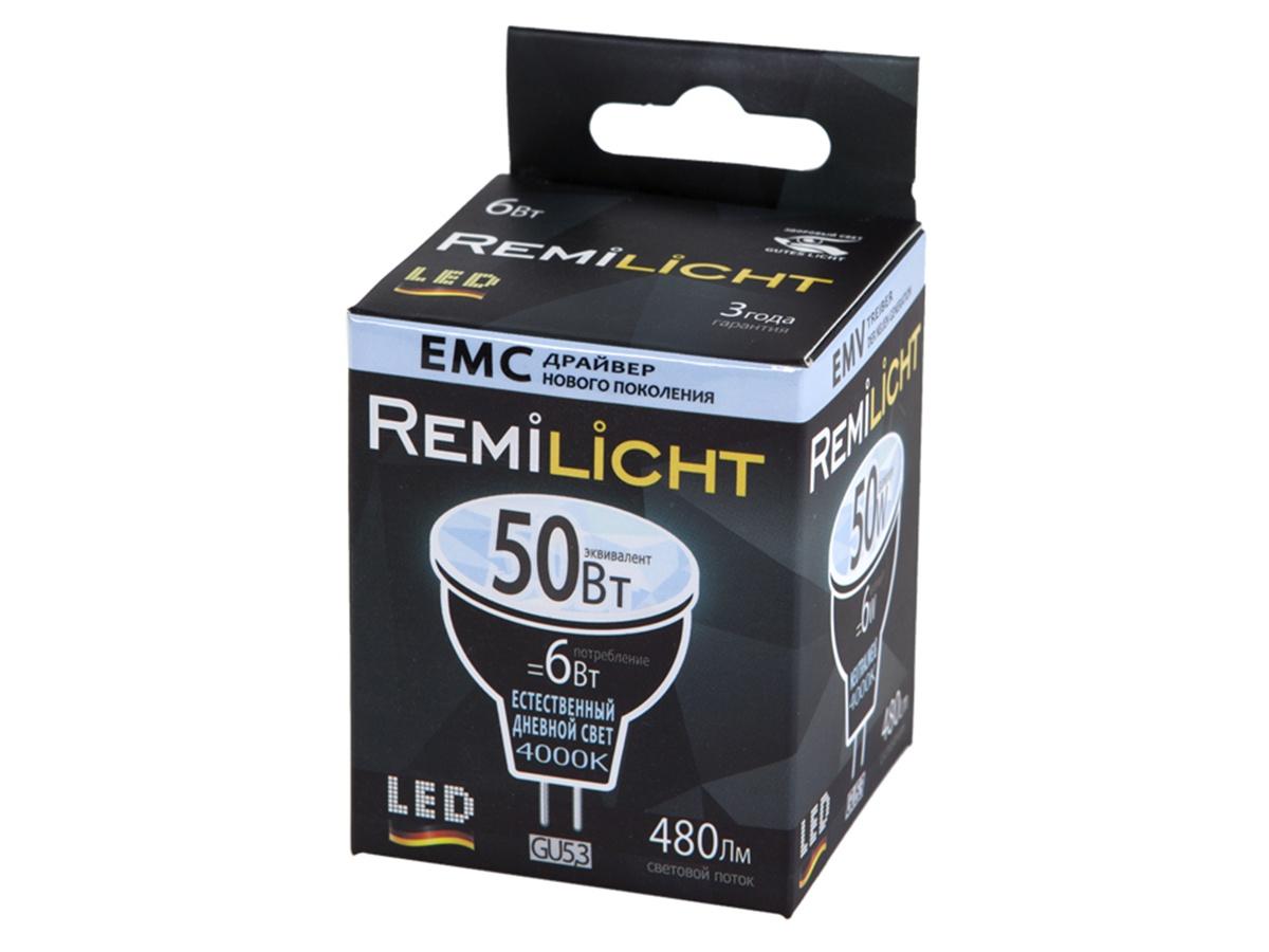 Лампочка Remilicht GU5.3, 6W, 4000K [супермаркет] джингдонг филипс philips светодиодные лампы интерьера исследование лампа прикроватная шампанского прохладный fun 4 6w 4000k 66027