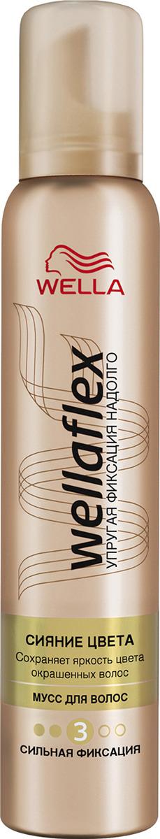 Мусс для волос Wellaflex Сияние цвета сильной фиксации, 200 мл для волос от солнца