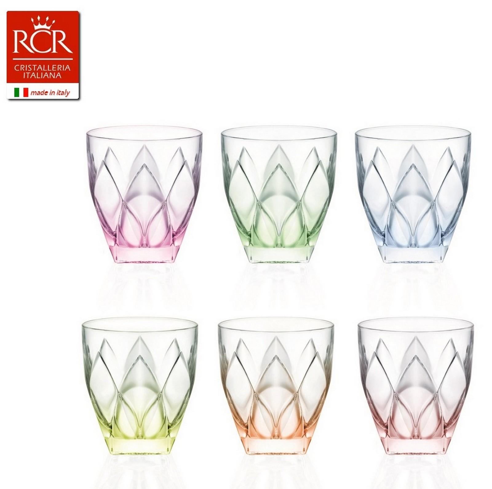 Набор стаканов для виски 250 мл цыетные 6 шт NINPHEA RCR TRENDS28260Итальянский брэнд RCR Cristalleria Italiana берет свои истоки из городка в пригороде Италии, традиции обработки стекла в котором уходят в средние века. Плавить хрусталь и наполнять уникальностью каждое изделие, наделять его изяществом форм и высоким качеством - это то, что умеют мастера торгового дома RCR Cristalleria Italiana сегодня и совершенствуются в своем мастерстве каждый день. Популярность компании растет с каждым днем все больше и больше, а изделия разлетаются по всему миру и остаются востребованными на рынке сервировочной посуды. Ведь изготовление предметов сервировки для украшения праздничного стола и для ежедневных обедов - это и есть основное направление деятельности компании RCR Cristalleria Italiana.