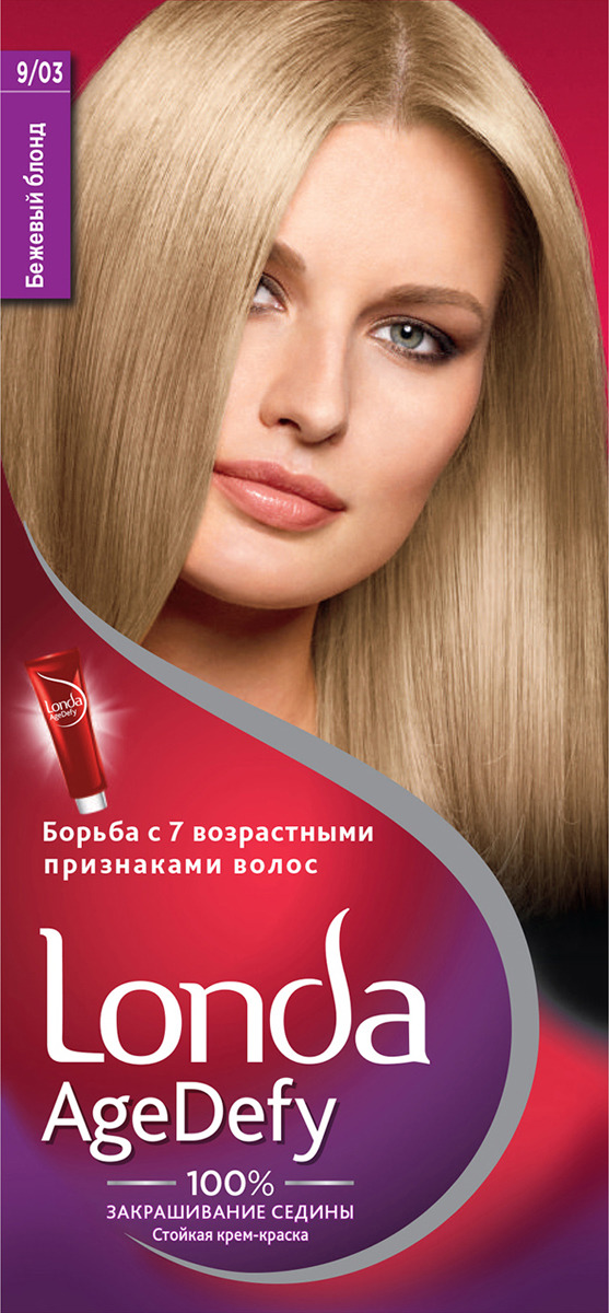 Крем-краска для волос Londa Age Defy стойкая, 9/03 бежевый блонд цена 2017