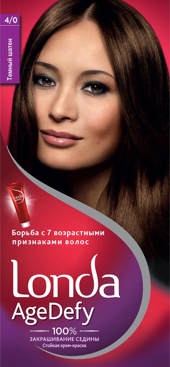 Крем-краска для волос Londa Age Defy стойкая, 4/0 темный шатен крем краска для волос londa age defy стойкая 4 0 темный шатен