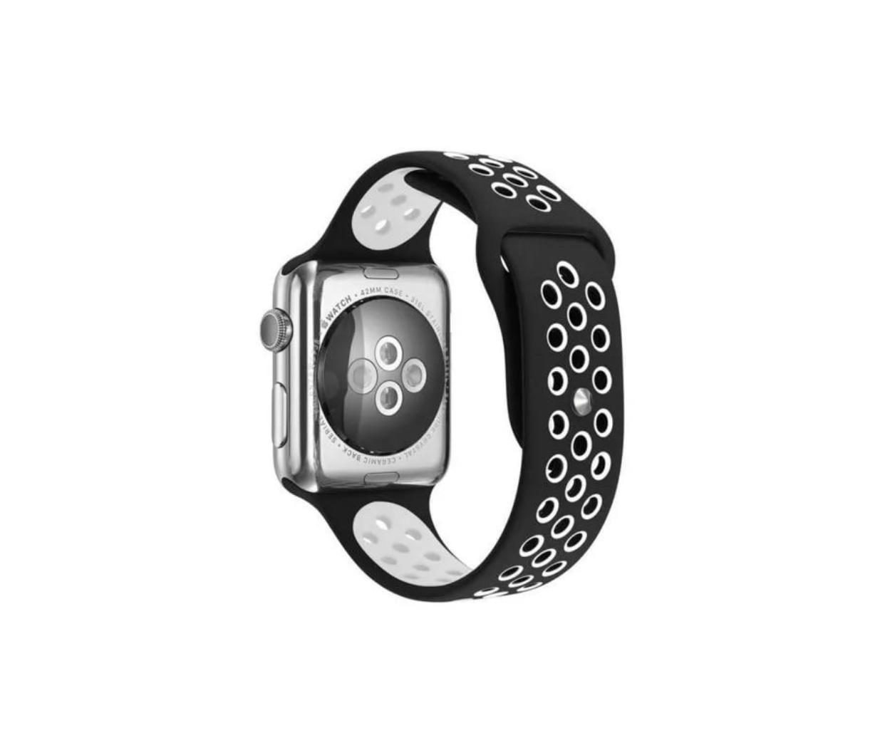 Ремешок для смарт-часов Markclub Силиконовый 42mm черный белый аксессуар ремешок gurdini sport silicone для apple watch 42mm dark teal 906173