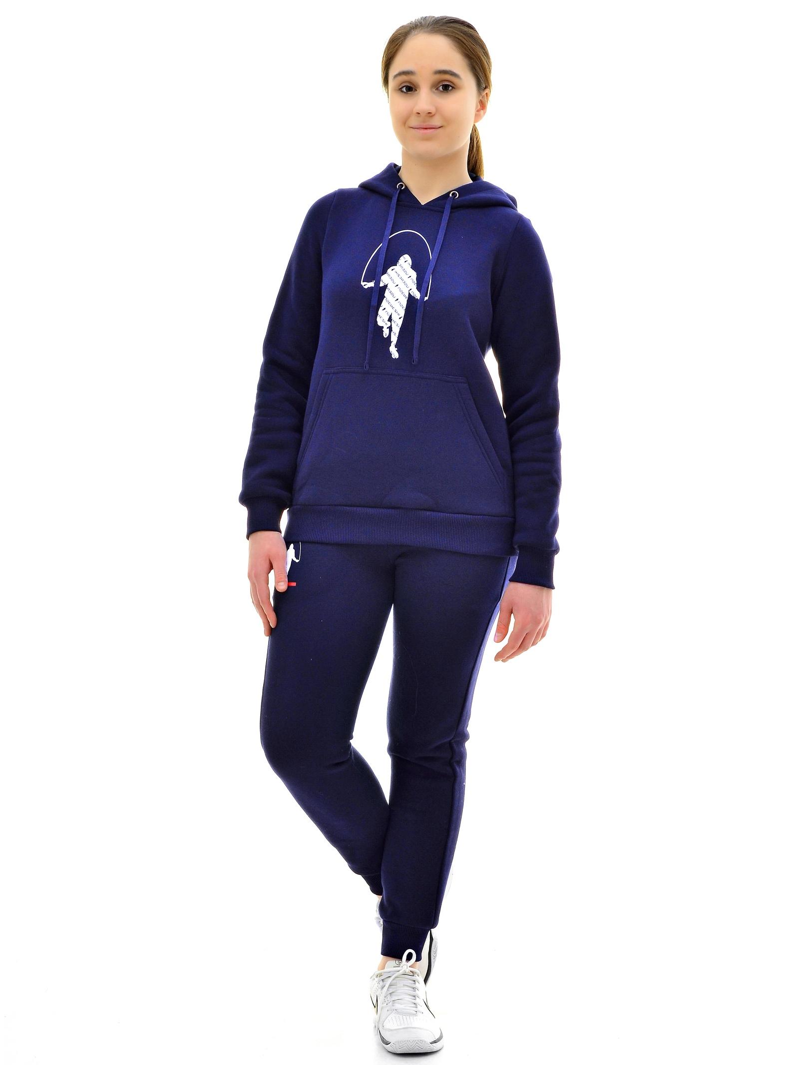 Спортивный костюм USEREZHI W580402-44, синий 44 размерW580402-44Удобный и практичный костюм от бренда USEREZHI создан из мягкого, качественного трикотажа с начесом. Костюм подходит под любой тип фигуры, у данной модели слегка зауженные штанины с манжетами. В нашей одежде вы себя будете чувствовать комфортно и этот замечательный костюм станет одной из любимых вещей в вашем гардеробе. Рост модели на фото - 170 см., размер на модели 42. Материалы: Ткань: Хлопок не менее 80%. Ткань трикотаж с начесом, приятный телу и при этом в меру эластичный. Изображение - логотип шелкография.Особенности верха: цвет синий, эластичные манжеты, модель кофты – худи с капюшоном. Изображение - шелкография логотип.Особенности брюк: цвет синий, эластичная резинка по талии брюк и шнурок, изображение: шелкография логотип.