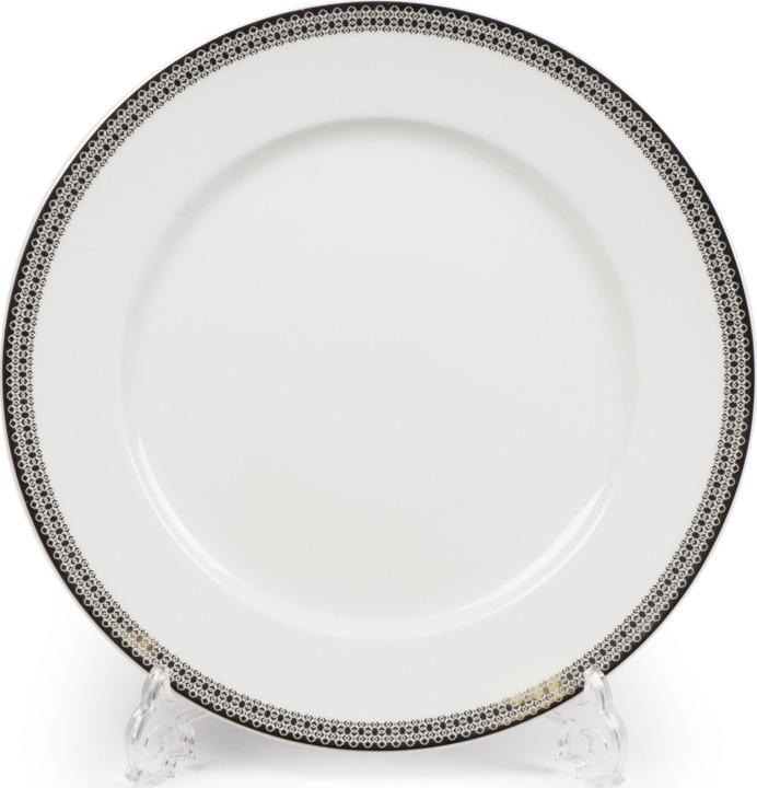 Тарелка La Rose des Sables Fast Platine, 5300127 1753, белый, серебряный, плоская салатник круглый 13 см la rose des sables mimosa didon or 533913 1645