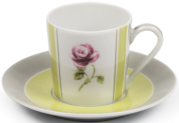 Кофейная пара La Rose des Sables Cocooning, 5303512 2375, белый, серый, салатовый, 110 мл кофейная пара rosenberg 90 мл голубой
