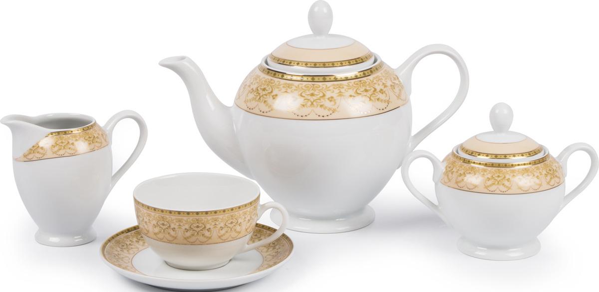 Сервиз чайный La Rose des Sables Tiffany Or, 6409515 1785, золотой, персиковый, 27 предметов цена