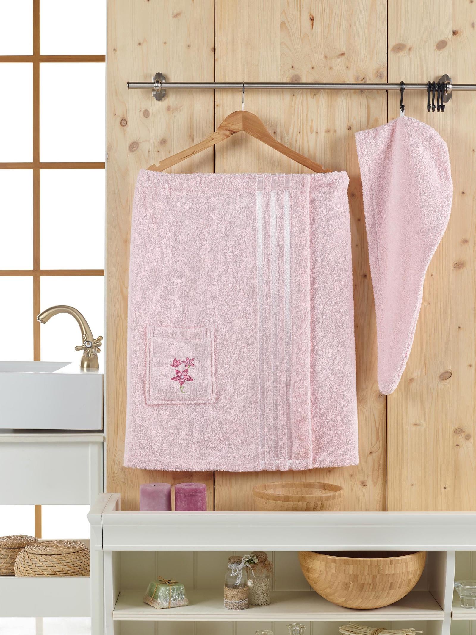 Банный комплект JUANNA Сауна женская SEVAKIN_светло-розовый, светло-розовый банный комплект juanna сауна женская sevakin коричневый коричневый
