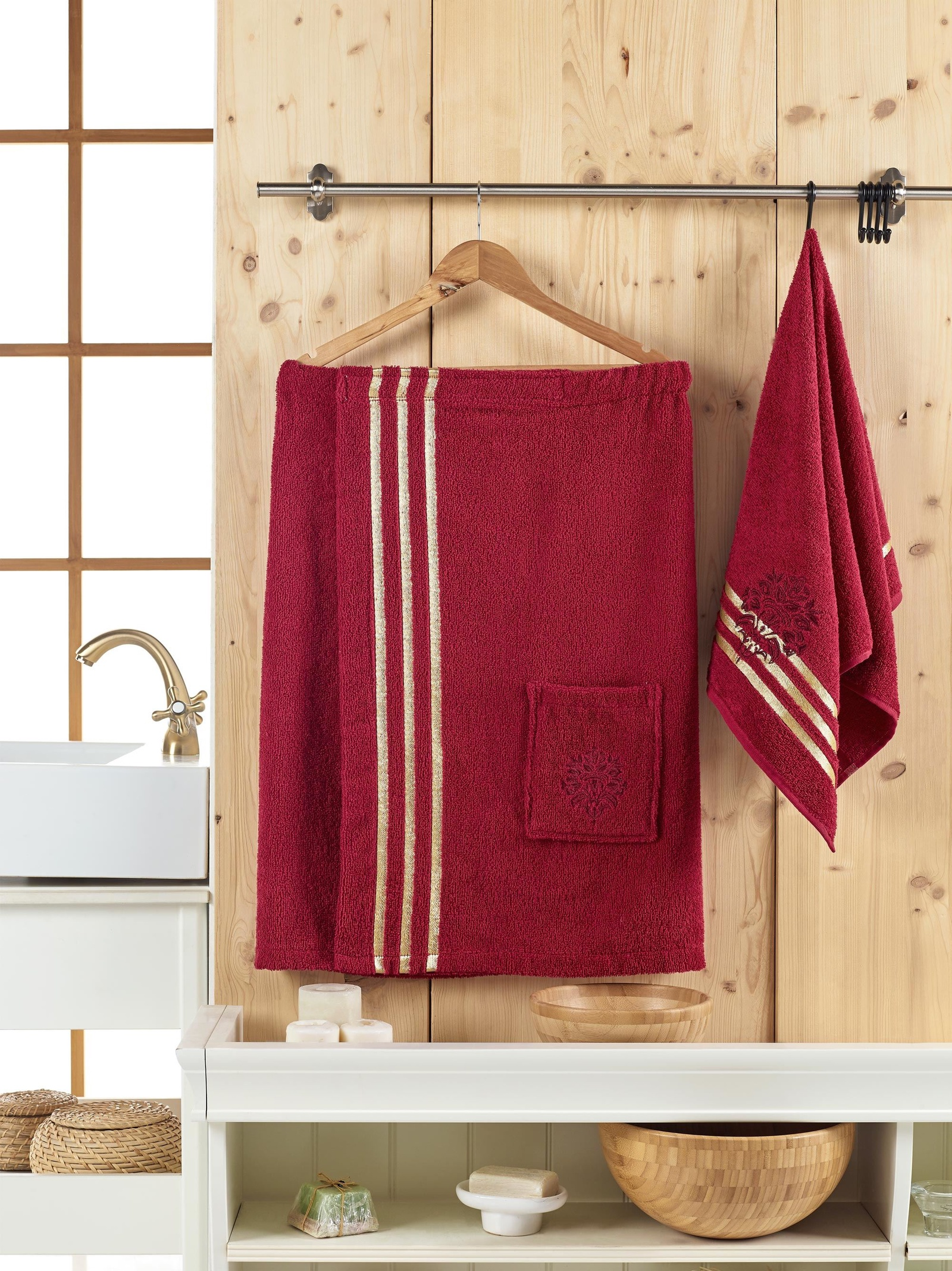 Банный комплект JUANNA Сауна женская SEVAKIN_бордовый, бордовый банный комплект juanna сауна женская sevakin коричневый коричневый