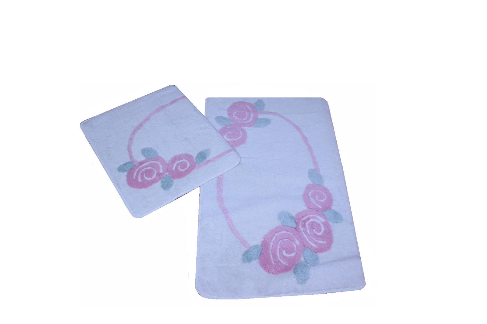 Набор ковриков для ванной DO&CO Коврик для ванной DO&CO (60Х100 см/50x60 см) ROSELIN_розовый, 9396-160, розовый