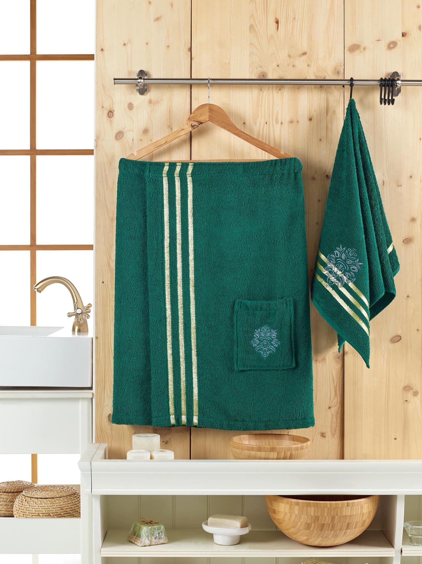 Банный комплект JUANNA Сауна женская SEVAKIN_темно-зеленый, темно-зеленый банный комплект juanna сауна женская sevakin коричневый коричневый