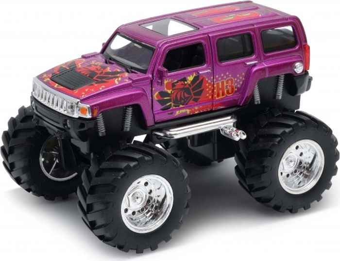 Машинка Welly Hammer H3 Big Wheel Monster, 47001S машинка welly toyota fj cruiser big wheel monster 47003s