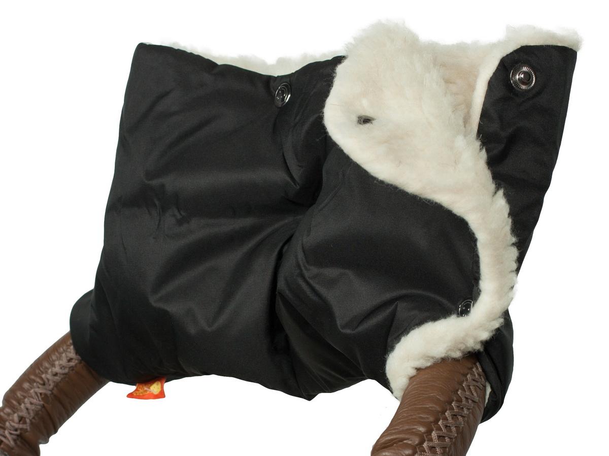 Аксессуар для колясок Чудо-Чадо Муфта для рук на коляску меховая Классика, МКМ08-000 черный муфта для рук еду еду раздельная на коляску плащевая ткань натуральный мех синтепон зима красный