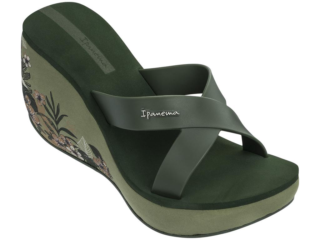 Шлепанцы женские Ipanema, цвет: зеленый. 82534-20770. Размер 38 (37)82534-20770Стильные сабо, на высокой танкетке, с интересным принтом. Комфортые и удобные на ноге. Стелька мягкая.