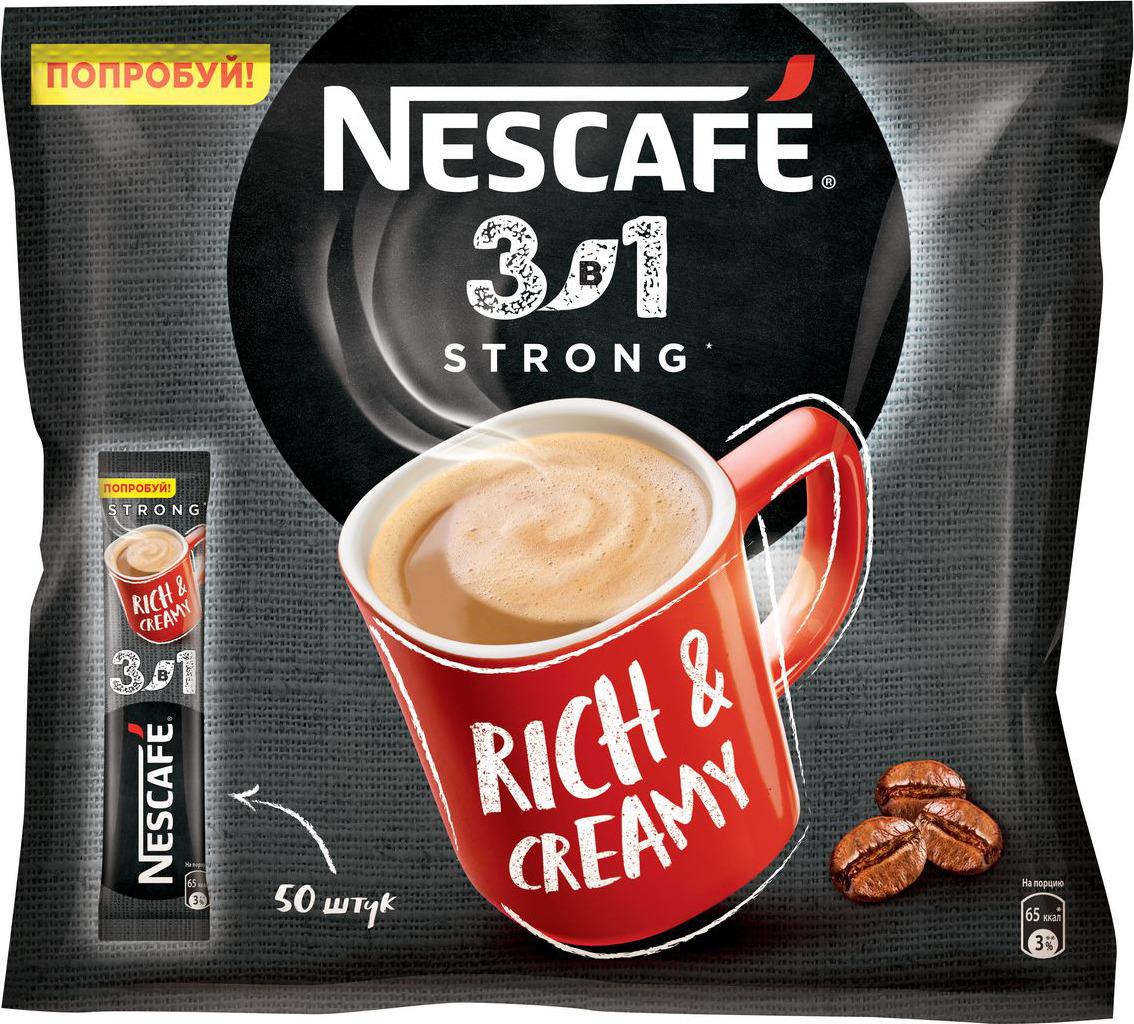 Nescafe 3 в 1 Крепкий кофе растворимый, 50 шт