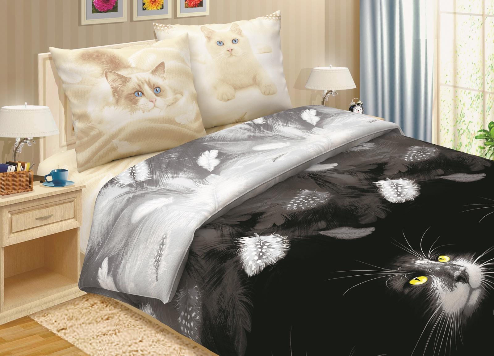 Комплект постельного белья ТК Традиция Pastel, для сна и отдыха, 1203/Ласка, черно-серый
