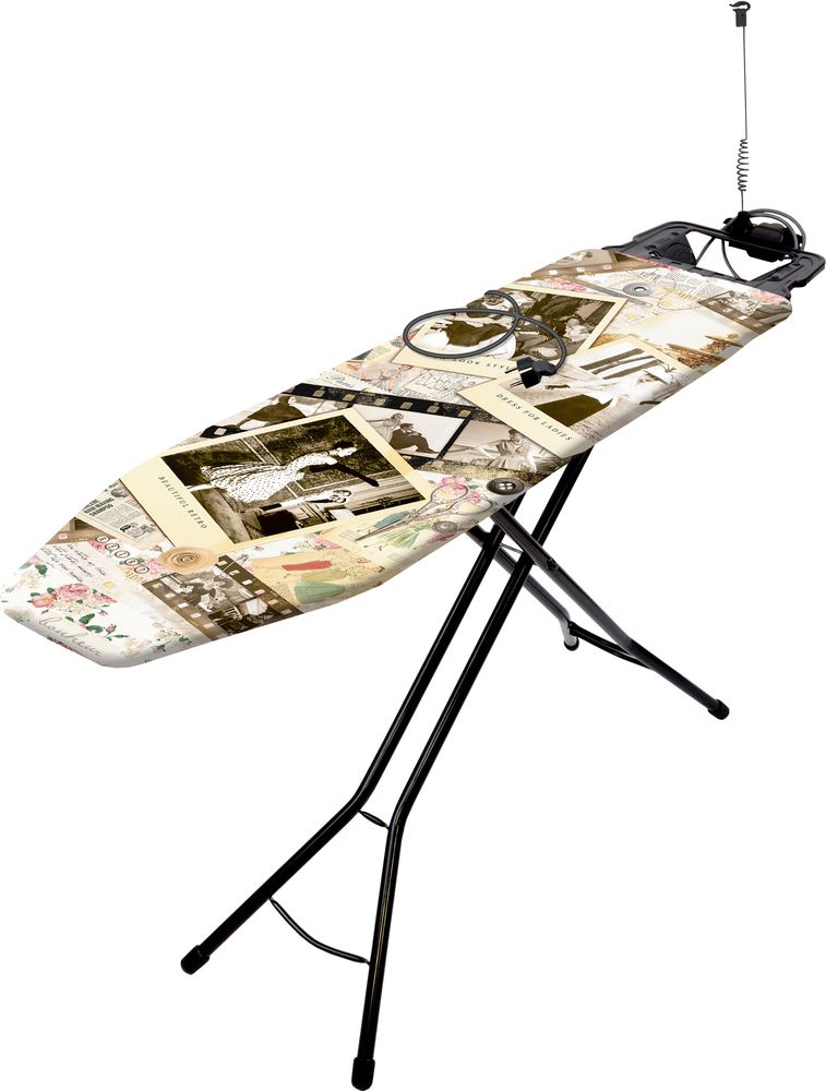 Гладильная доска HAUSHALT Bruna Fashion, черный, коричневый гладильная доска haushalt bruna golf х б перф лист розетка 122x34 см нbr