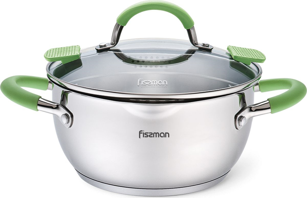Кастрюля Fissman Charlotte, с крышкой, 5501, зеленый, 2 л