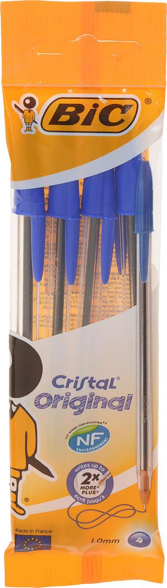 Фото - Bic Набор шариковых ручек Cristal цвет чернил синий 4 шт набор шариковых ручек спираль цвет чернил синий 4 шт