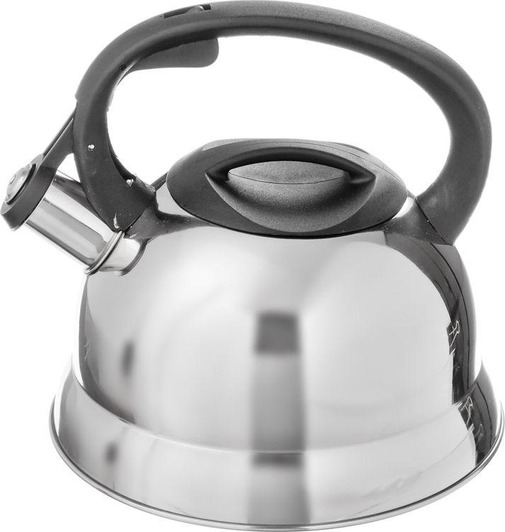 Чайник N/N Корсика, 847056, 2,5 л847056Чайник объемом 2,5 л изготовлен из нержавеющей стали, оснащен несъемным свистком на кнопке и бакелитовой ручкой черного цвета, с капсульным дном, подходит использования на всех типах плит, кроме индукции.
