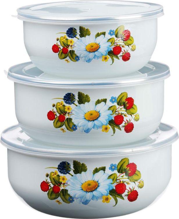 Набор эмалированных салатников N/N Леона, 894462, с крышками, 6 предметов. набор кулинарный n n 856034 белый 6 предметов