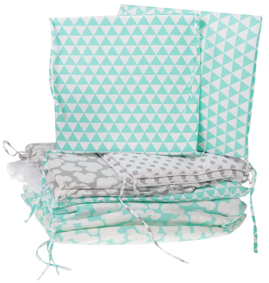 Комплект в кроватку Sweet Baby Fiocco, 411971, зеленый, серый, 7 предметов