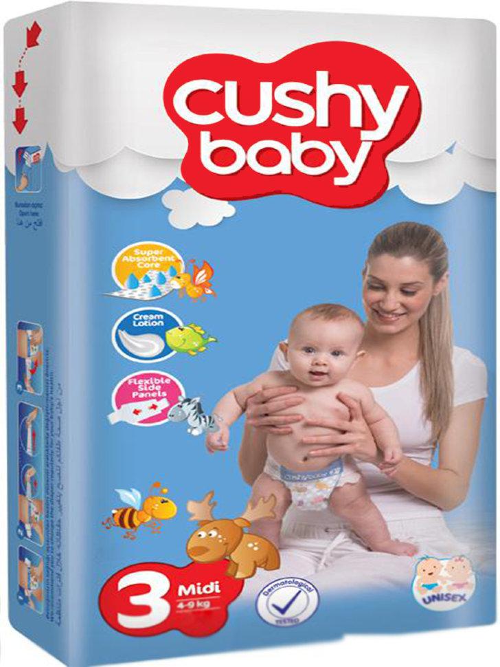 Подгузники Cushy Baby MIDI SIZE 4-9 кг 36 штук