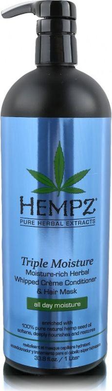 Кондиционер для волос Hempz Triple Moisture, 1 л hempz triple moisture herbal whipped creme body scrub скраб для тела тройное увлажнение 176 гр