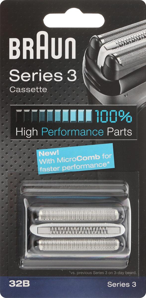 Braun 32B Series 3 серии, Black бритвенная кассета для 300/310/320/330/340 аксессуар чистящая кассета braun ccr 2