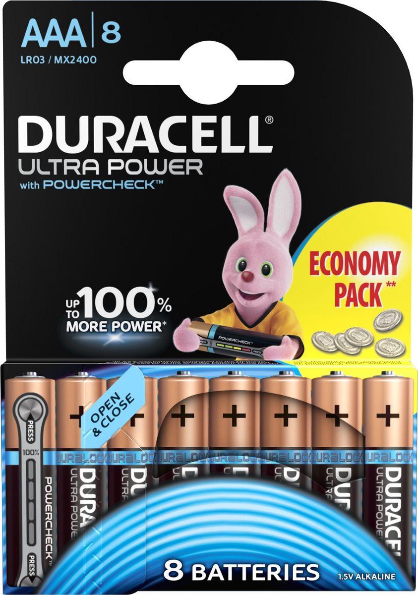 Набор батареек Duracell Ultra Power LR03-8BL, 5004808, 8 шт батарейки duracell turbo max lr03 8bl aaa 8 шт