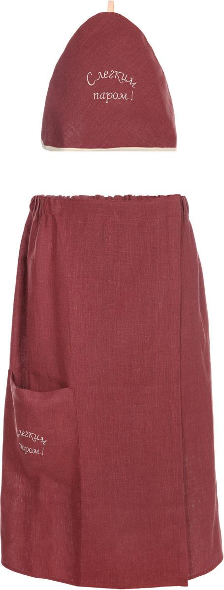 цены Комплект для бани Гаврилов-Ямский Лен, женский, 10со4168, бордовый, 2 предмета