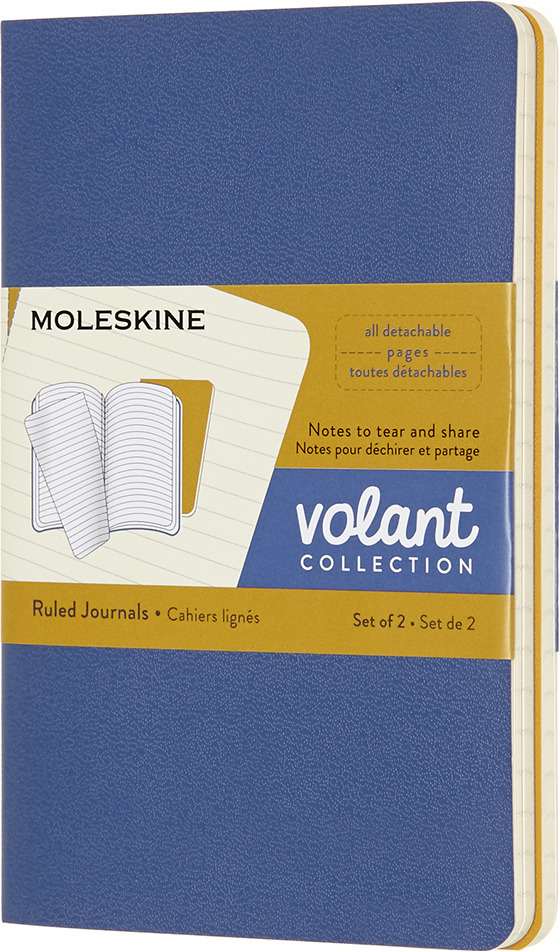 Блокнот Moleskine Volant, QP711B41M17, синий, желтый, 40 листов в линейку, 2 шт