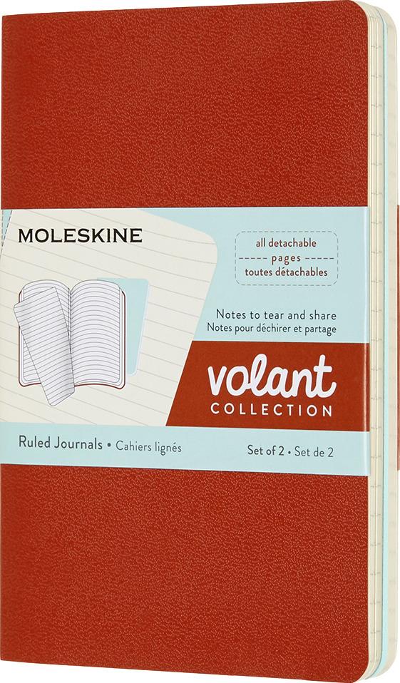 Блокнот Moleskine Volant, QP711F16B24, оранжевый, голубой, 40 листов в линейку, 2 шт