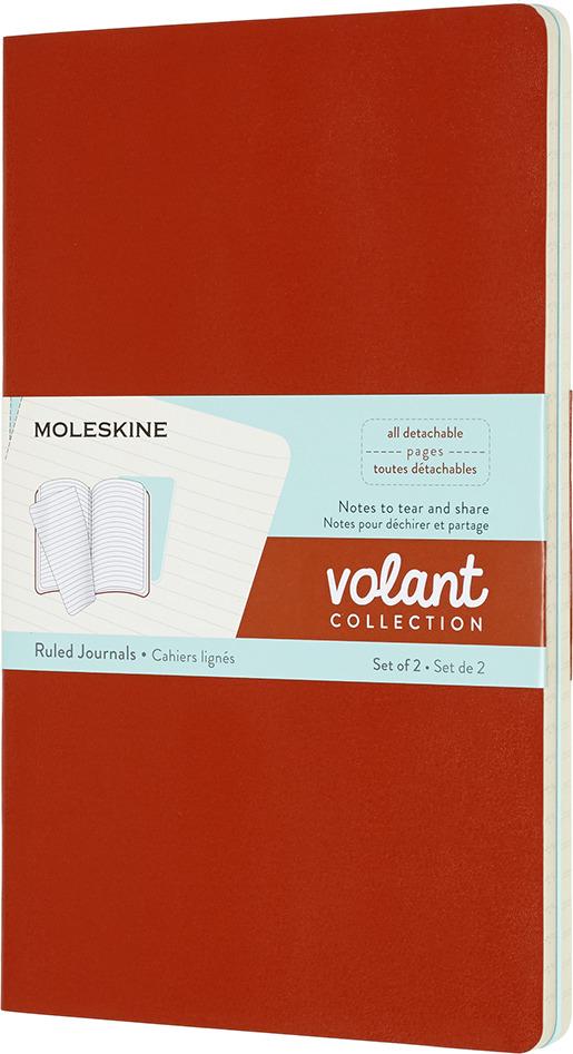 Блокнот Moleskine Volant, QP721F16B24, оранжевый, голубой, 48 листов в линейку, 2 шт