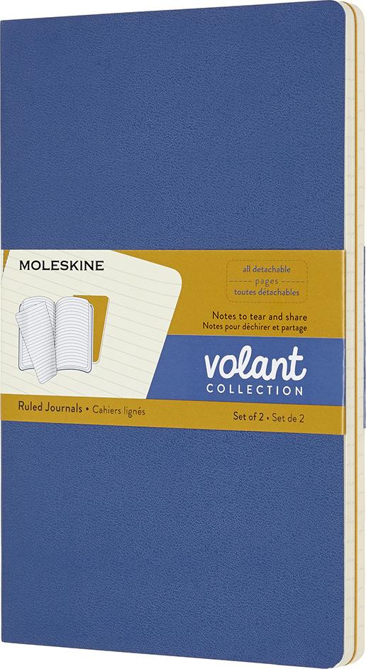 Блокнот Moleskine Volant, QP721B41M17, синий, желтый, 48 листов в линейку, 2 шт