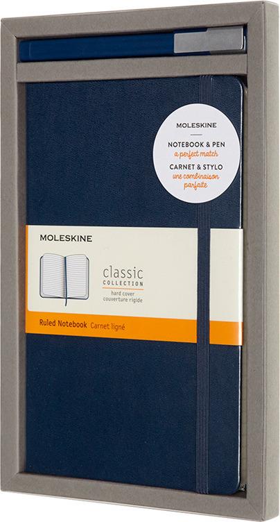 Набор Moleskine Bundle Vertical б блокнот Classic + ручка, BUNDVLGB20, синий