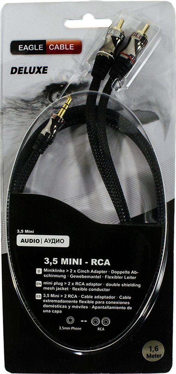Фото - Адаптерный кабель Eagle Cable Deluxe Mini(m) - 2xRCA, 10071116, черный, 1,6 м кабель eagle cable deluxe usb a b 0 8 м черный
