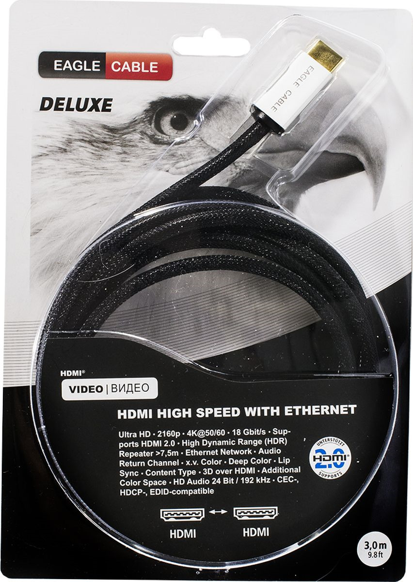 Фото - Кабель Eagle Cable Deluxe II, HDMI 2.0, 10012030, черный, 3 м кабель eagle cable deluxe usb a b 3 2 м черный