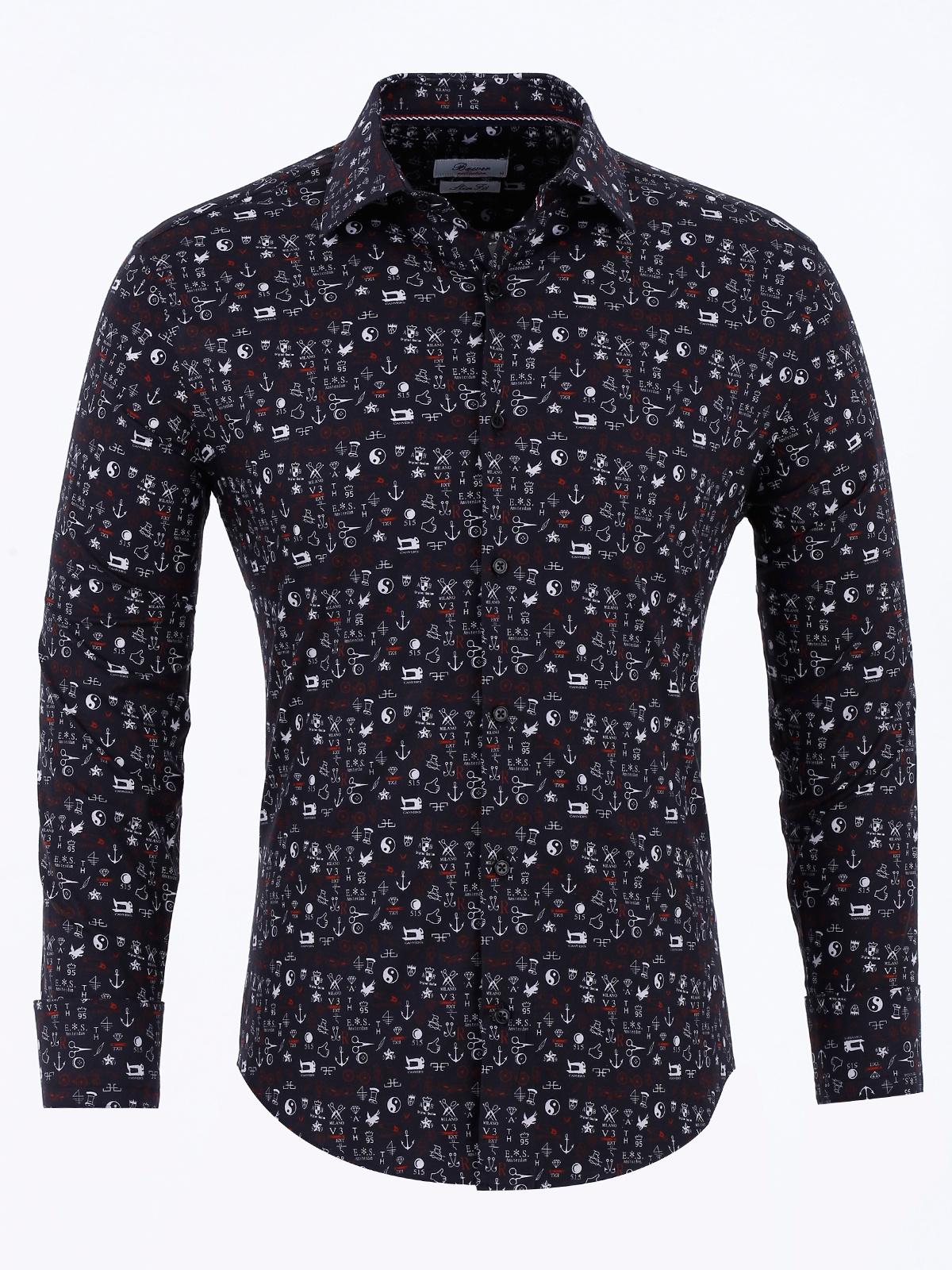 Рубашка Bawer yoms с длинными рукавами рубашка мужской хлопок мужской корейский цвет slim free повседневная мужская рубашка печать черный l 175